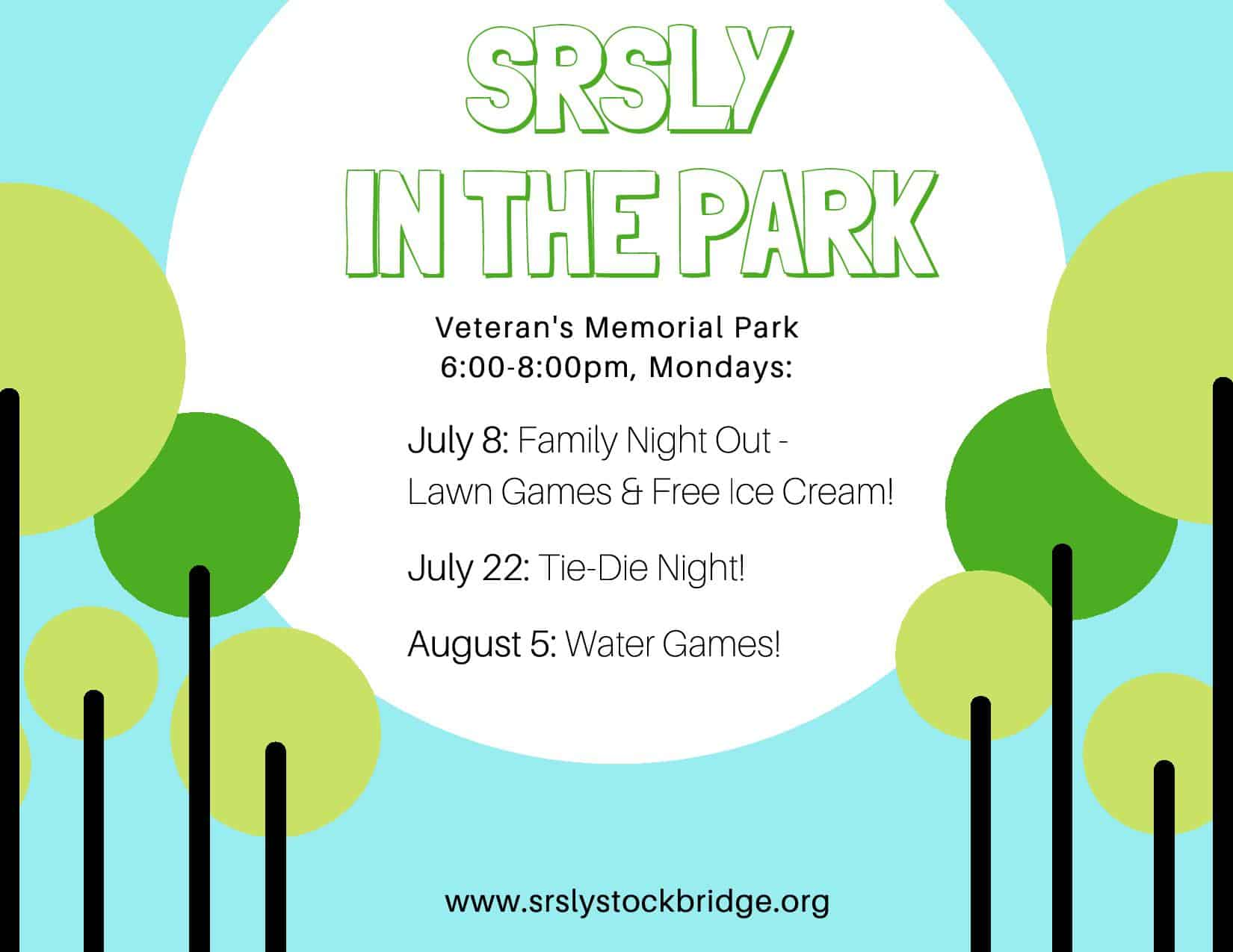 SRSLY in the Park: Tie-Dye Night! @ Veteran's Park, Stockbridge